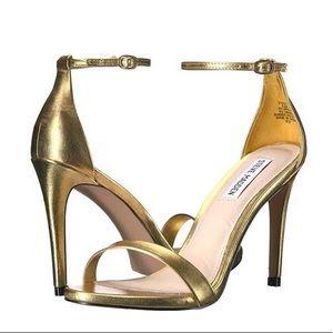 Steve Madden metallic gold Stecy heel sandal sz 10
